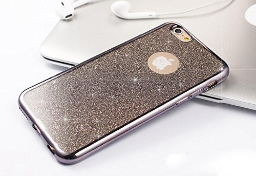 Coque iPhone 6,Coque iPhone 6S,Coque Étui Case pour iPhone 6S / 6,ikasus® Coque iPhone 6S / 6 Silicone Étui Housse Téléphone Couverture TPU Clair éclat Strass bling diamond cristal Sparkle glitter pai Noir