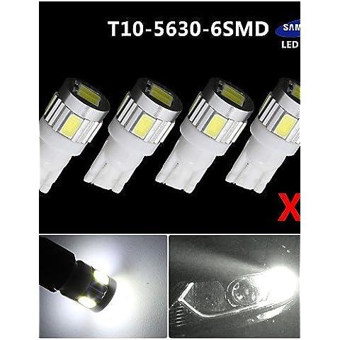 TT&FF 4x cuneo lato T10 bianco di Samsung 5630 6SMD condotto licenza mappa luce W5W 2825 ,