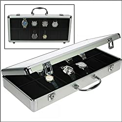 """SAFE ALUMINIUM ALU Collector 's WATCHES BOX Brillant """" XL """" - IN NOBLE BLACK VELOUR - WITH 12 BOXES inside & 12 x ADJUSTABLE SOFT PILLOWS WATCHESHOLDERS - TRANSPARENT CLEAR WINDOW - LOCKABLE - FOR ALL KIND OF WATCHES - ALSO FOR THE NEW LARGE WATCHES IN BEST JEWELLERY QUALITY"""