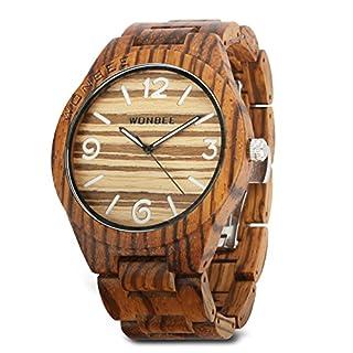 WONBEE Natural Zebra Wooden Men's Watch Quartz Wrist Watch with Japanese Quartz Movement and Large Dial - ARABTOON Series