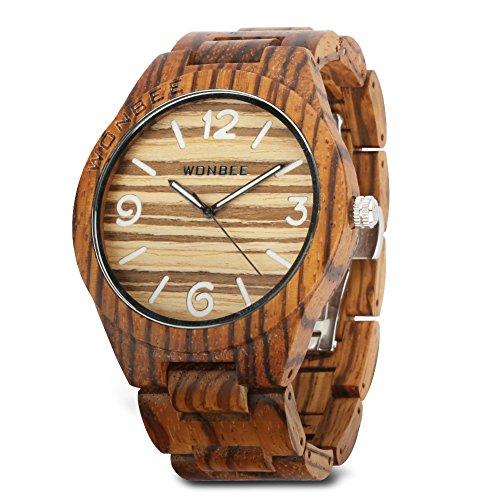 WONBEE Herren Uhr Holz Handgefertigte Japanisches Analog Quarzwerk Uhren mit Zebra Holz Armband Arab-Z