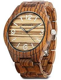 e1c024495128 Reloj de Madera Wonbee para Hombres y Mujeres-Artesanía Hecha a Mano Relojes  de Madera-Banda de Madera del Reloj –Bisel de Madera- Reloj…