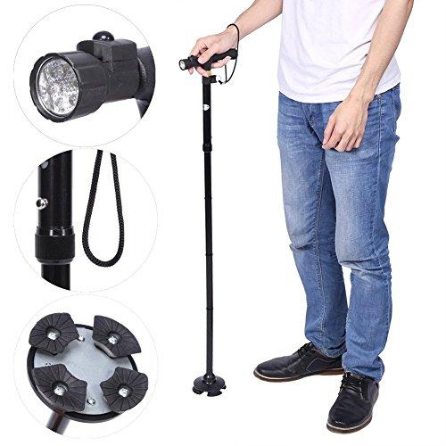 Klappbare Gehstöcke, Trekking-Stöcke, zusammenklappbar Anti Shock Schwamm Griff höhenverstellbar eingebaute LED-Taschenlampe Gehstöcke