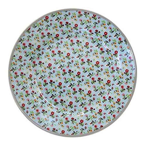 esserteller/Kuchenteller/Frühstücksteller - Porzellan - Hellblau - Bunte Blumen - Ø 20 cm ()