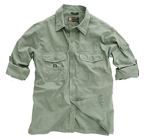 Outdoor Safari Hemd in beige und grün aus leichter Baumwolle, Langarm Shirt