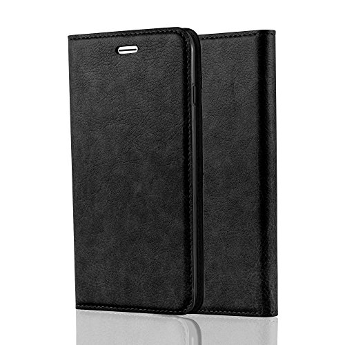 Cadorabo Hülle für Apple iPhone 7 / iPhone 7S / iPhone 8 Nacht SCHWARZ - Handyhülle mit Magnetverschluss, Standfunktion & Kartenfach - Case Cover Schutzhülle Etui Tasche Book Klapp Style