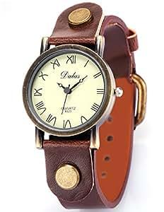 AMPM24 Montre Bracelet Quartz Bronze Cuir PU Vintage Style Chiffres Romains Marron-Unisexe WAA267