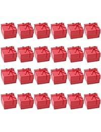 24x Caso Caja Expositor De Regalo Joyas Anillo Cuadrada Rojo Ring Case Boxes