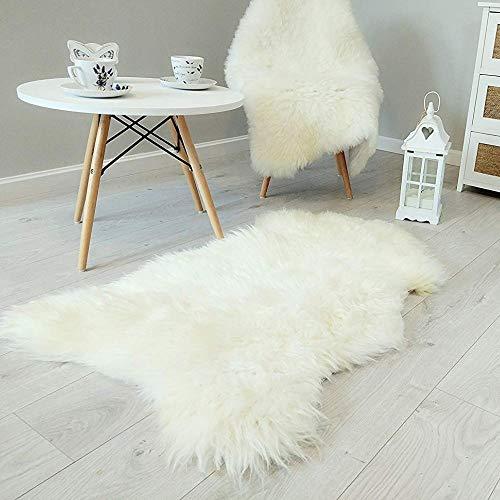 Amazinggirl Lammfell Schaffell Echt Teppich Rug - Weiss öko Bio ökologisch schafsfell Sheepskin groß l (Weiß, Gross 100 x 110 cm) (Schaffell-teppich)