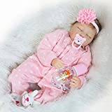 Pinky Reborn Bambole 22 Pollici 55 cm Dormire Reborn Baby Doll Realistico Silicone Morbido Vinile Bebe Reborn Dolls Bambole Mohair Giocattoli per Bambini (Headband)