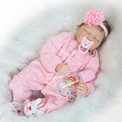 Neugeborenes Baby-Puppe Weichsilikon Vinyl 55 cm hübsch lebensecht Süß Baby Junge Mädchen Spielzeug Rosa schlafende Puppe