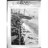 Una Stampa Antica della Nave Generale Di Ritorno Portsmouth Hercul dell'India Hilda della Cabina 1892…