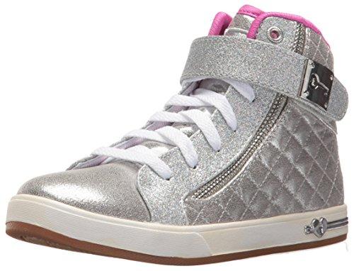 Skechers Mädchen Shoutouts-Quilted Crush Ausbilder, Silber (Silver/hot Pink), 38 EU