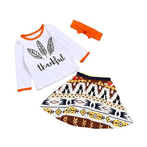 ng Longra Kinder Neugeborene Baby Mädchen Outfits Kleidung mit Print Langarm T-shirt Tops + Rock +Stirnband Set Thanksgiving Babykleidung Set (100CM 24Monate, White) (Junge Thanksgiving-outfit)