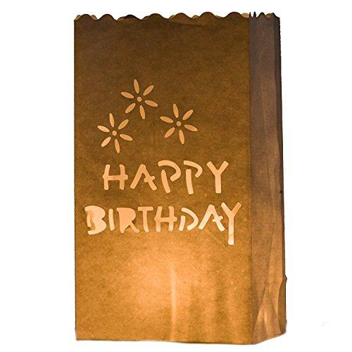 en Lichttüten papier weiß 10 Stück für Geburtstag Deko (Happy Birthday) (Origami Halloween-laterne)