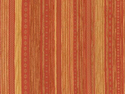 Landhaus Möbelstoff Kitzbühel Farbe 18 (terra, gelb, braun) - modernes Chenille-Flachgewebe (gemustert, gestreift) Polsterstoff, Stoff, Bezugsstoff, Eckbank, Couch, Sessel, Hussen, Kissen