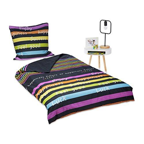 Relaxdays Bettwäsche bunt 135 x 200 cm, 2er Set Mikrofaser Bezug Decke und Kopfkissen, Sommer Bettgarnitur, mehrfarbig