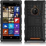 Lumia 830 Hülle, JAMMYLIZARD [ ALLIGATOR ] Doppelschutz Outdoor-Hülle für Nokia Lumia 830, SCHWARZ