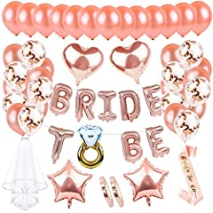 Idea Regalo - AivaToba Addio al Nubilato Gadget con Bride To Be Palloncini Banner Party in Oro Rosa, Palloncini Rosegold, Palloncini coriandoli per Addio al Nubilato Festa con Bride to Be Sash e Velo