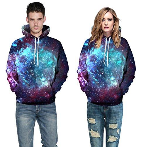 AMOMA Jungen digitaldruck Kapuzenpullover Tops Fashion Hoodie Pullover Hooded Sweatshirt Milchstraße