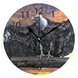 XiangHeFu Horloge Murale Ronde 25,4 cm de diamètre Silencieux Aigle Chauve américain décoratif pour la Maison, Le Bureau, l'école