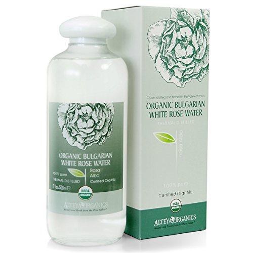 Alteya Organic Agua Floral Rosa Blanca 500 ml - Botella Grande - 100% USDA Producto Certificado Puro Autentico Natural de Rosa Alba Destilada al Vapor de Flor Recién Cosechada y Vendida Directamente por el Cultivador Propio Alteya Organics Basado en el Valle de las Rosas en Bulgaria