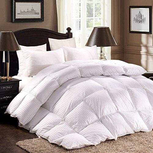 ROSECOSE Luxuriöse schwere Gänsedaunen Bettdecke für King-Size-Bett, Klassische Streifen, alle Jahreszeiten, 1200 Fadenzahl 750 + Füllkraft, 100% Baumwolle, Hypoallergen mit Tabs King weiß - 1200tc Streifen