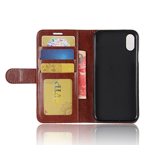 iPhone X Hülle, MOONMINI PU Leder Handycover Brieftasche Kartensteckplätze klapptasche Case Etui Flip Cover Schutzhülle im Bookstyle mit Stand Funktion und Magnetverschluss für iPhone X Rot Braun