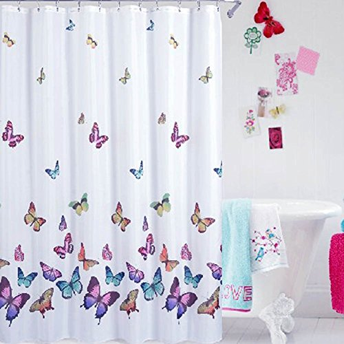 PowerLead Pscr C002 Butterflies Print Bath Curtain Waterproof Fabric Shower Curtain Multi Color