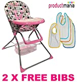 BRAND NEW BABY HIGH CHAIRS FOLDABLE HIGHCHAIR FEEDING TOP QUALITY 2014 MODEL (PINK)