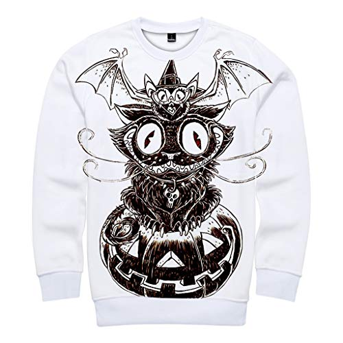 MasteriOne Unisex Sweatshirt Mode 3D Print Halloween Pullover Hoodies with Big Pockets (Moderne Bonnie Und Clyde Kostüm)