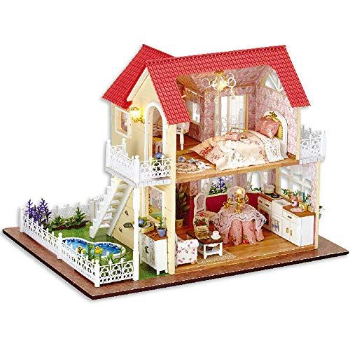 DIY hölzerne handgemachte Dollhouse Miniature Kit - Mini 3D Holzhaus Zimmer Handwerk mit Möbeln LED-Leuchten, Geburtstag