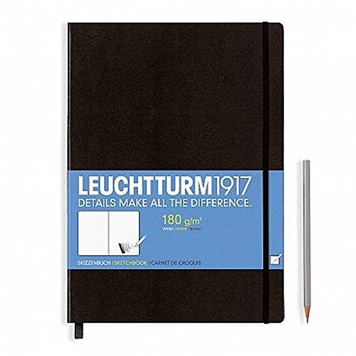 Leuchtturm1917 344675 Skizzenbuch Master (A4+, mit reinweißem, extra starkem 180 g/m² Papier, 96 Seiten) schwarz