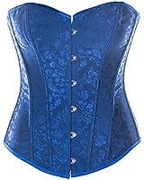 SiaLinda: Überbrust Korsett Vivine, blau, Jacquard, sexy, Topqualität