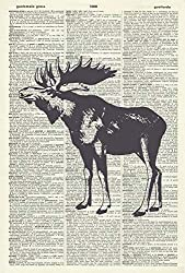 Moose Art Print – Vintage Art Print – Moose Illustration – Wild Animal Artwork – Vintage Dictionary Art Print - Book Page Print – Wildlife Wall Art – Moose Picture Wall Hanging 1365D