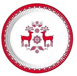 CB- Pack 8 Platos Cartón Navidad 23 Cm, Color Rojo/Blanco (71946)