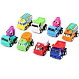 autumn-wind 8 pcs/lot Pull Back Friction Powered Cars Wind-up Toy Mini cars Cartoon Kids For Children Truck Boys Gifts Summer Beach Toy Car Dumper