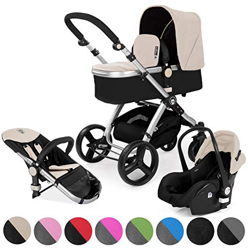 Froggy Kombi-Kinderwagen MAGICA Set mit Babyschale 3in1 Kinderwagen Alu Rahmen Umkehrbarer Sitz EASY-CLICK-System Sand