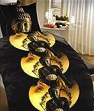 Biancheria da letto di panno in microfibra 135X 200o 155X 220Buddha marrone giallo, Microfibra, Braun Gelb, 155 x 220 cm
