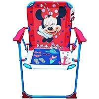 Takestop® silla plegable Minnie Mouse Minnie Disney fucsia azul para niños infantil niño Camping dormitorio Mar Playa Jardín de Metal y Plástico con reposabrazos portátil estructura ligera 53x 38x 39cm