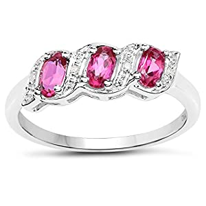 The Diamond Ring Collection: Sterling Silver Genuine Pink Topaz & Diamond Eternity Engagement Ring (Size R)