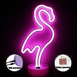 Flamenco Lámparas neón de mesa - LED Flamenco Neon Luces de la noche con pedestal Con el botón, Lámparas de mesa y mesilla de noche, Rosa Iluminación de interior infantil(Flamingo + USB + Botton)