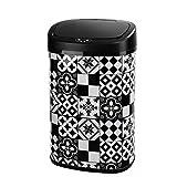 KITCHEN MOVE BAT-58L Tile Black Poubelle Automatique de Cuisine 58L Carreau de Ciment, Acier INOX, Noir, 40,9x28,9x64,5cm