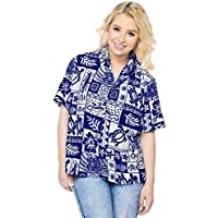 La Leela Pulsante spiaggia casuale camicetta delle donne verso il basso hawaiian serbatoio vestibilità regolare camicia a maniche top corta blu