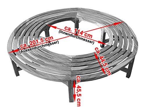 KMH®, 360° Baumbank (Kreis) ohne Rückenlehne aus massivem Teakholz! (#102133) - 3