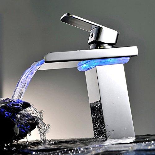Bonade® LED Farbewechsel Wasserhahn Wasserfall Waschtischarmatur Einhebelmischer Bad Armatur für Badenzimmer Waschbecken - 2