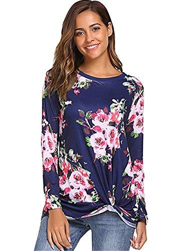 JOTHIN 2018 Autunno Invernali Eleganti Bluse Floreali Girocollo Top Maniche Lunghe Magliette Irregolare Fashion T-Shirt Donna Blu scuro