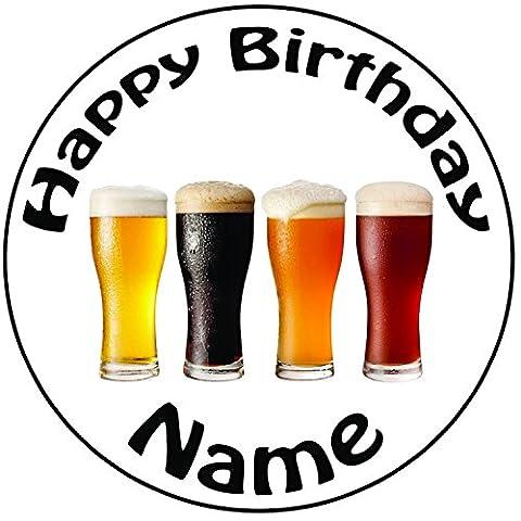 Décoration pour gâteau personnalisée pintes de bière–Un Rond prédécoupés 20,3cm Décoration Glaçage (20cm)
