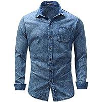 Solapa Hombres Camiseta De Manga Larga De Algodón Puro,Azul,XXXL