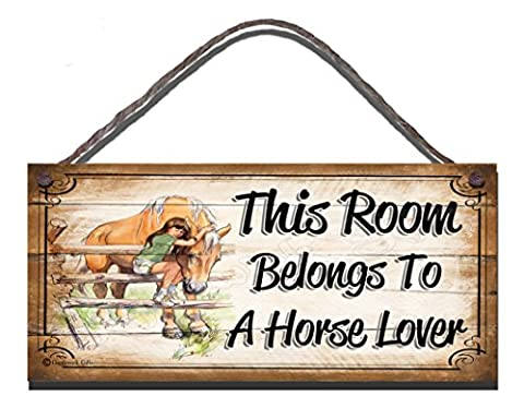 Birthday Occasion Wooden Funny Sign Wall Plaque This Room Belongs To A Horse Lover Fba